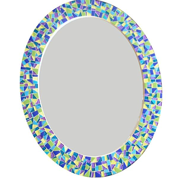 Colorful Oval Mosaic Mirror, OVAL Mosaic Mirror, Green Street Mosaics