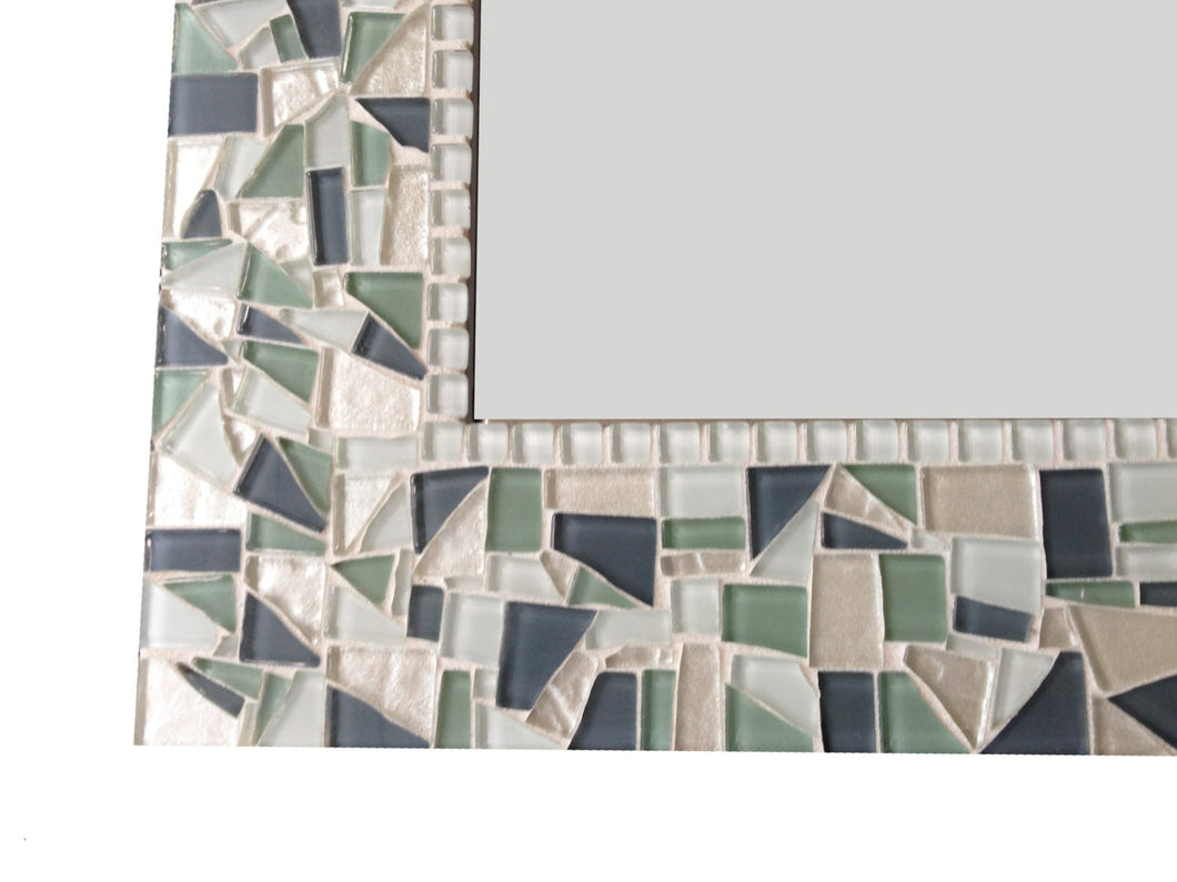 Decorative Mosaic Mirror Green and Gray, Rectangular Mosaic Mirror, Green Street Mosaics