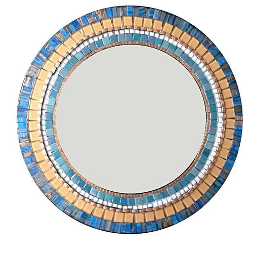 Blue and Copper Mosaic Mirror, Round Mosaic Mirror, Green Street Mosaics