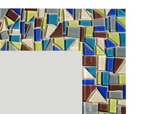 Custom Mosaic Mirror, Rectangular Mosaic Mirror, Green Street Mosaics