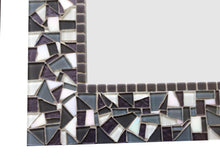 Gray, White, Dark Purple Mosaic Wall Mirror, Rectangular Mosaic Mirror, Green Street Mosaics