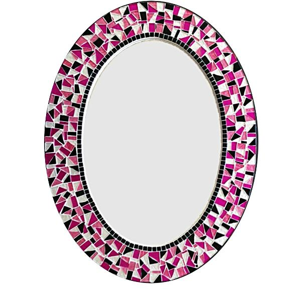 Pink and Black Oval Mosaic Mirror, OVAL Mosaic Mirror, Green Street Mosaics