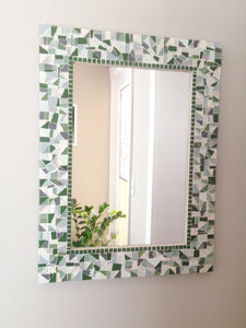 Green and Gray Wall Mirror, Rectangular Mosaic Mirror, Green Street Mosaics