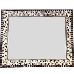 Large Brown Wall Mirror, Rectangular Mosaic Mirror, Green Street Mosaics