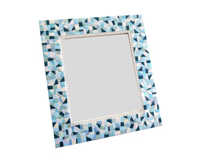 Blue White Mosaic Wall Mirror, Rectangular Mosaic Mirror, Green Street Mosaics