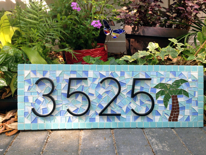 Beach House Address Sign, House Number Sign, Green Street Mosaics