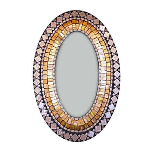 Brown and Copper Mosaic Mirror, OVAL Mosaic Mirror, Green Street Mosaics