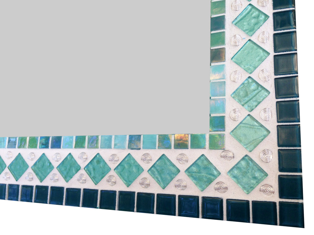 Teal and Aqua Mosaic Mirror, Rectangular Mosaic Mirror, Green Street Mosaics