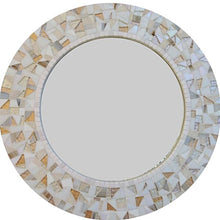 White and Gold Mosaic Mirror, Round Mosaic Mirror, Green Street Mosaics
