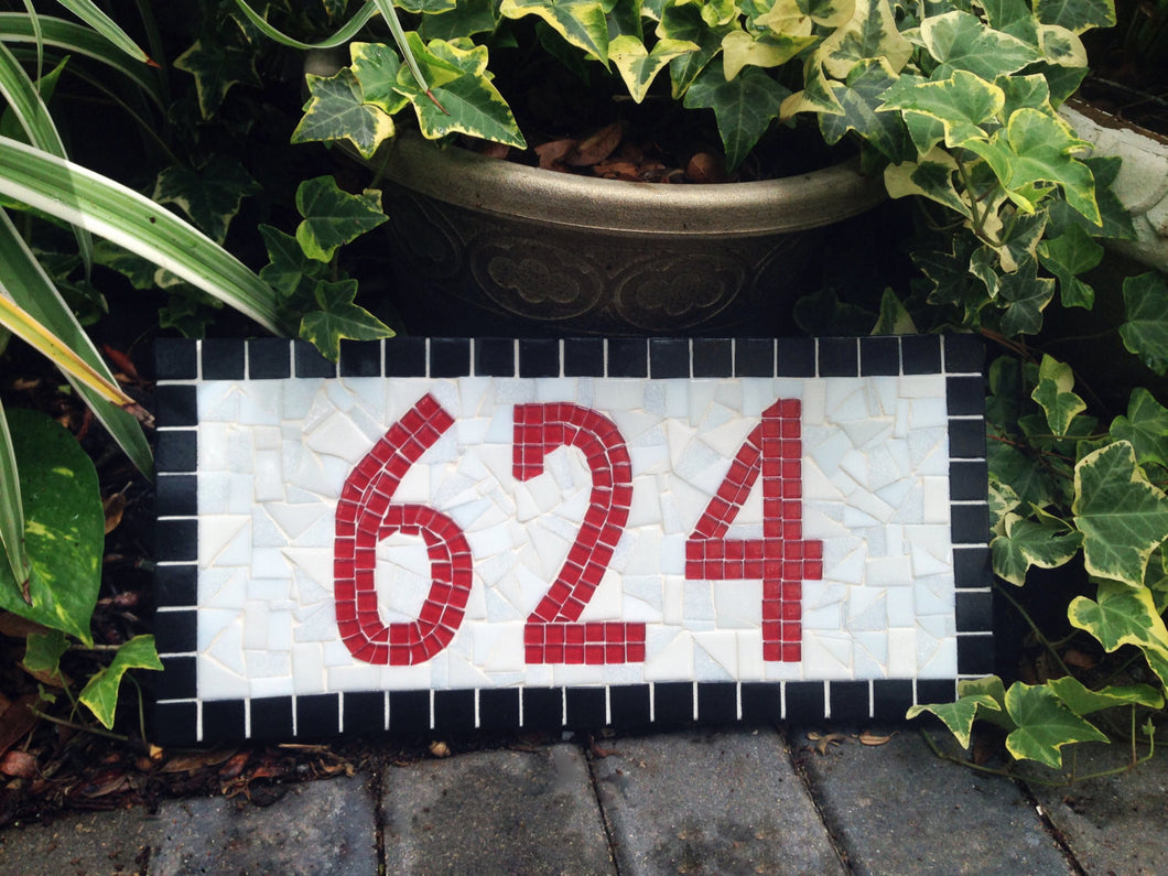 Red and White Address Marker, House Number Sign, Green Street Mosaics