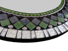 Green and Black Mosaic Mirror, Round Mosaic Mirror, Green Street Mosaics