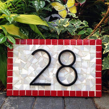Red and Gray Address Sign, House Number Sign, Green Street Mosaics