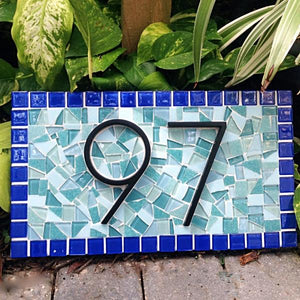 Blue and Aqua Address Plaque, House Number Sign, Green Street Mosaics