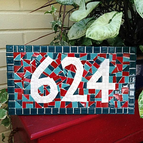 Red and Teal Mosaic Address Sign, House Number Sign, Green Street Mosaics