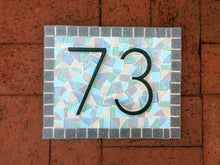Mosaic Address Sign for Beach House, House Number Sign, Green Street Mosaics