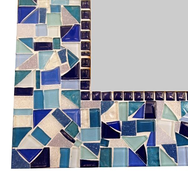 Blue and Aqua Mosaic Mirror, Rectangular Mosaic Mirror, Green Street Mosaics