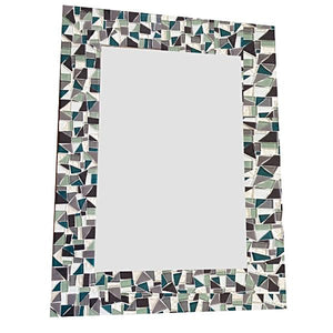 Mosaic Mirror for Bathroom, Rectangular Mosaic Mirror, Green Street Mosaics