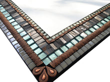 Large Mosaic Mirror Gray Copper Aqua, Rectangular Mosaic Mirror, Green Street Mosaics