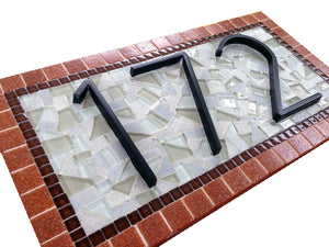 Hanging Mosaic Address Sign, House Number Sign, Green Street Mosaics