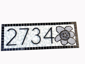 Address Sign with Flower in Black and White, House Number Sign, Green Street Mosaics