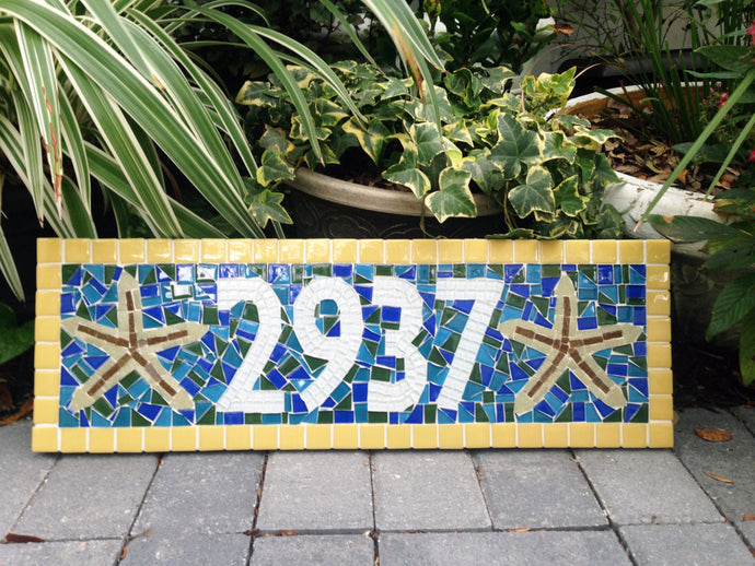 Tropical Mosaic Address Sign, House Number Sign, Green Street Mosaics