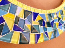 Yellow and Blue Mosaic Mirror, OVAL Mosaic Mirror, Green Street Mosaics