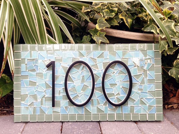Green and Aqua Mosaic Address Sign, House Number Sign, Green Street Mosaics