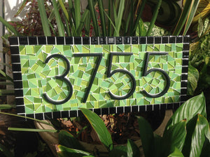 Green and Black Address Plaque, House Number Sign, Green Street Mosaics