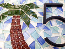 Teal Address Sign with Palm Trees, House Number Sign, Green Street Mosaics