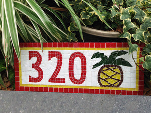 Mosaic Address Sign with Pineapple, House Number Sign, Green Street Mosaics