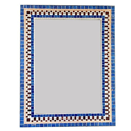 Blue and Brown Mosaic Mirror, Rectangular Mosaic Mirror, Green Street Mosaics