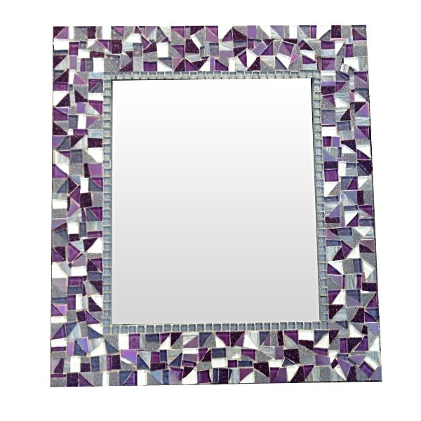 Purple and Gray Mosaic Mirror, Rectangular Mosaic Mirror, Green Street Mosaics