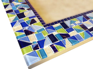 Large Mirror in Navy Blue, White, Lime Green, Rectangular Mosaic Mirror, Green Street Mosaics