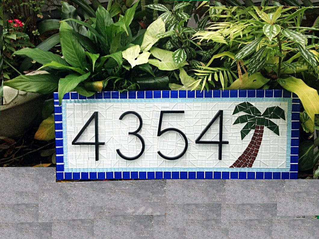 House Number Sign with Palm Tree