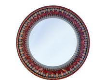 Red and Copper Mosaic Mirror, Round Mosaic Mirror, Green Street Mosaics