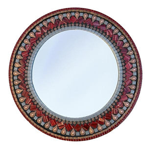Red and Copper Mosaic Mirror