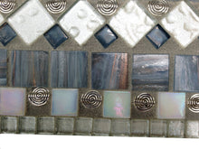 Large Wall Mirror in Silver Gray and White, Rectangular Mosaic Mirror, Green Street Mosaics