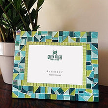 Mosaic Picture Frame Teal and Lime Green, Picture Frame, Green Street Mosaics
