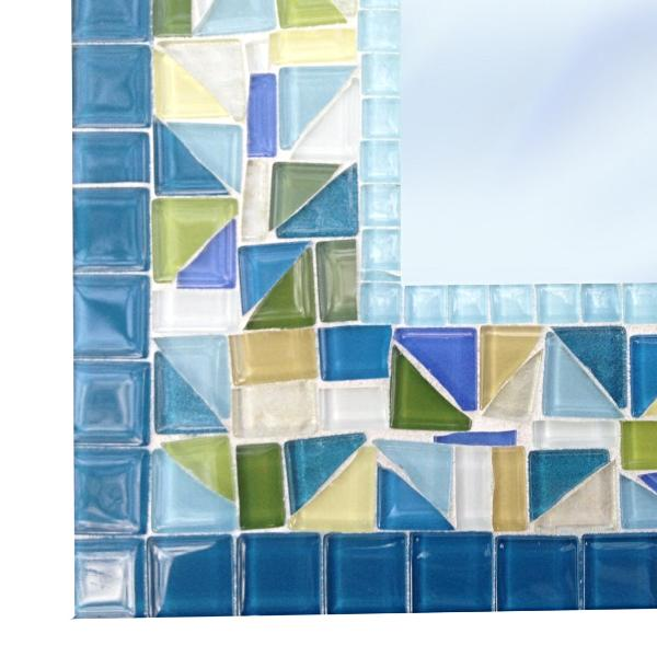 Colorful Mosaic Mirror, Rectangular Mosaic Mirror, Green Street Mosaics