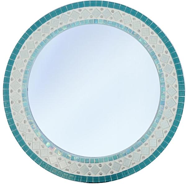 Aqua and White Mosaic Mirror