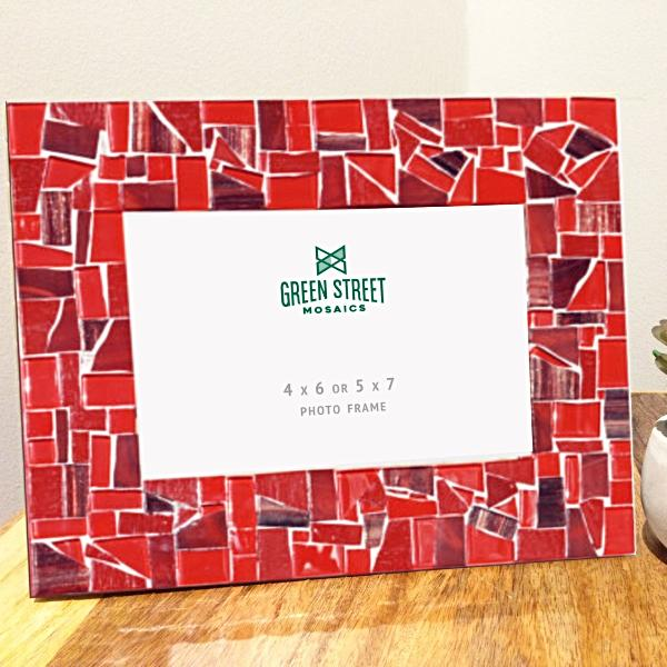 Red Mosaic Picture Frame, Picture Frame, Green Street Mosaics