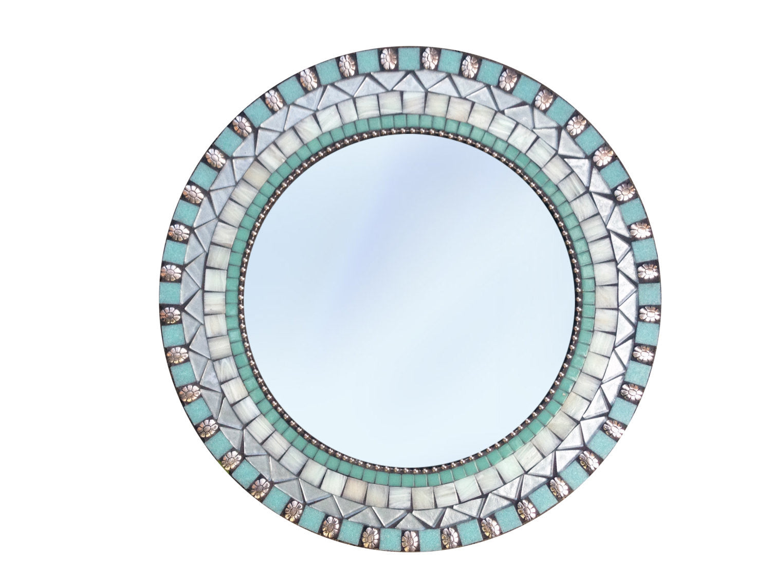round wall mirror silver and aqua