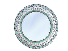 Round Wall Mirror Silver and Aqua, Round Mosaic Mirror, Green Street Mosaics