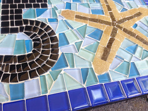 Blue House Number Sign with Starfish, House Number Sign, Green Street Mosaics