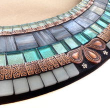 Mixed Media Mosaic Wall Mirror, OVAL Mosaic Mirror, Green Street Mosaics