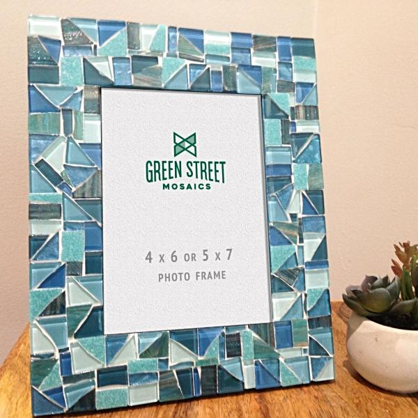 Aqua, Teal, Turquoise Picture Frame, Picture Frame, Green Street Mosaics