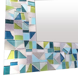 Bathroom Mirror, Rectangular Mosaic Mirror, Green Street Mosaics
