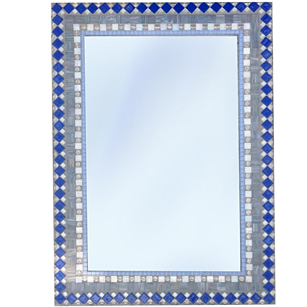 Blue and Gray Mirror, Rectangular Mosaic Mirror, Green Street Mosaics