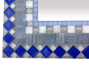 Large Wall Mirror in Gray Silver and Blue, Rectangular Mosaic Mirror, Green Street Mosaics