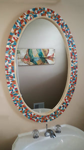 Bathroom Wall Mirror, OVAL Mosaic Mirror, Green Street Mosaics